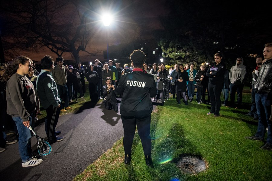 Students gather on the Lakefill on the night of the 2016 presidential election. One year into Donald Trump's presidency, students, faculty and staff have voiced concerns with his leadership.