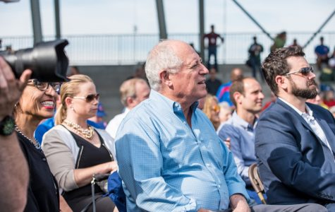 Former Illinois Gov. Pat Quinn attends the grand opening of Kerry Woods Cubs Field in September 2015. Quinn (School of Law '80) will donate a collection of his personal papers to the University Archives.