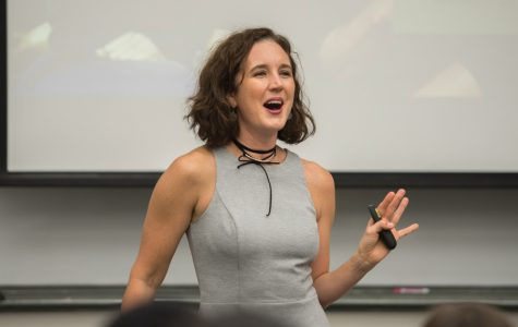 Psychology Prof. Alexandra Solomon speaks at University Hall on Wednesday. Solomon advised students about how to maintain healthy relationships.