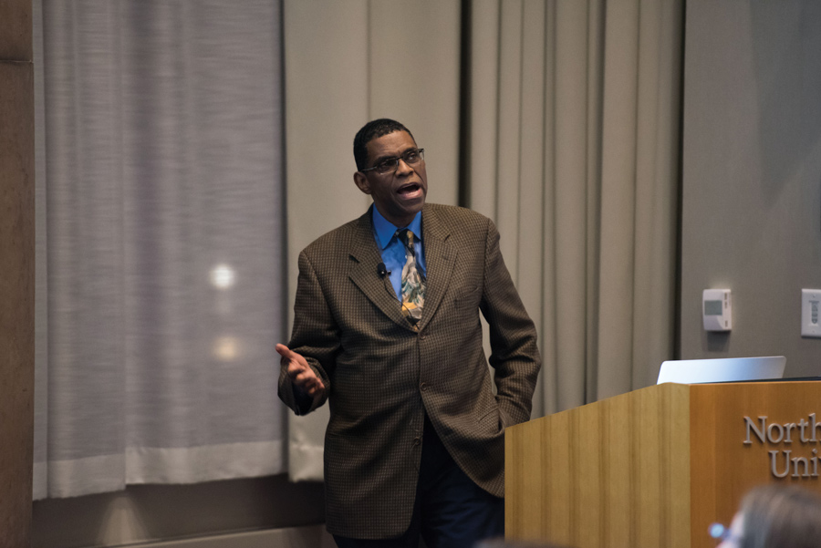 Dr. Terry Mason, chief operating officer of the Cook County Department of Public Health, speaks at an event Wednesday at the Segal Visitors Center. Health practitioners, community organizations and parents gathered to discuss empowering childhood resiliency in the face of trauma.