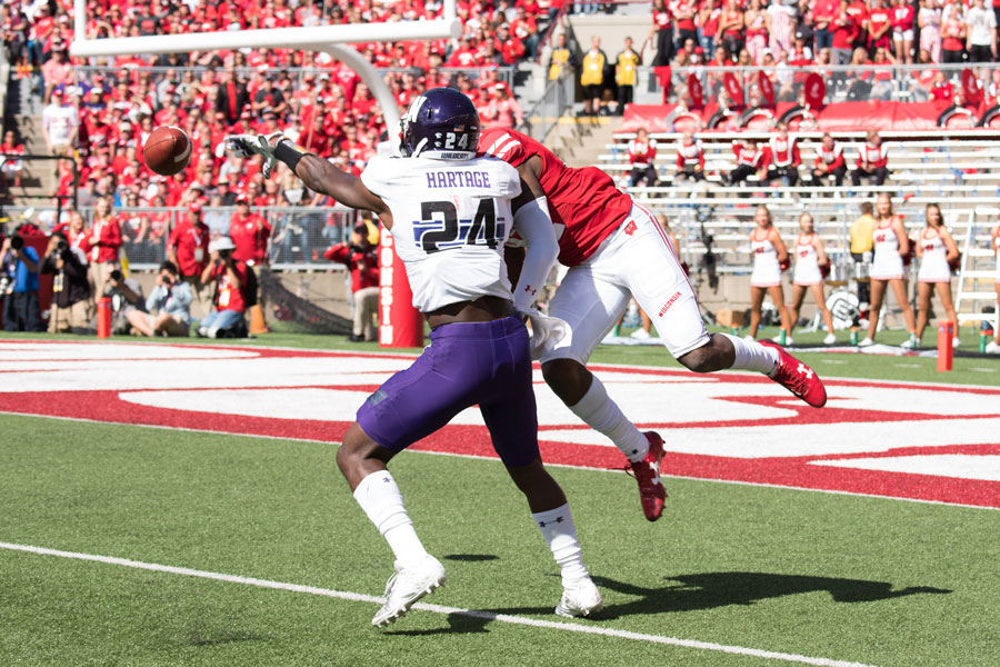 Montre Hartage defends a pass. The junior cornerback has been a consistent starter for a Northwestern defense that has struggled against the pass statistically.