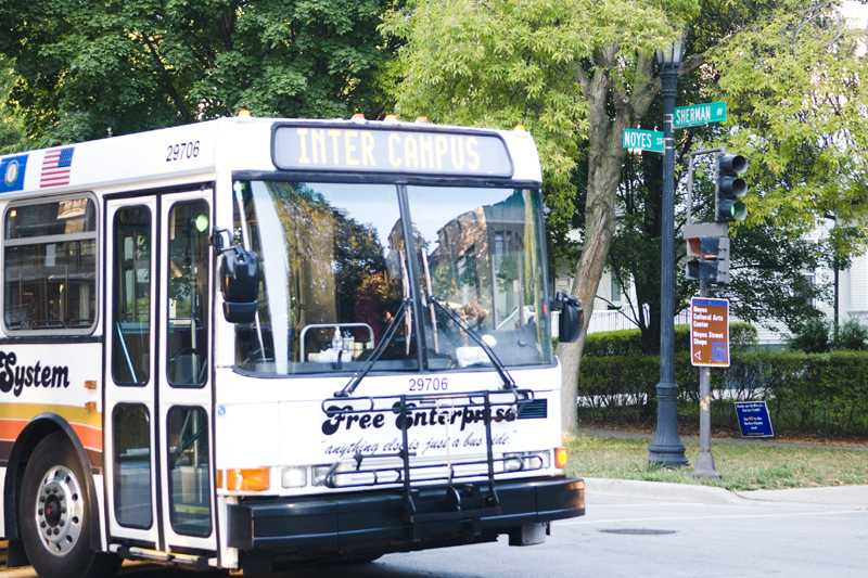 One of Northwestern's intercampus shuttles at the intersection of Sherman Avenue and Noyes Street. The shuttles, which mainly travel between NU's Evanston and Chicago campuses, will offer free Wi-Fi service to passengers as soon as Winter Quarter.