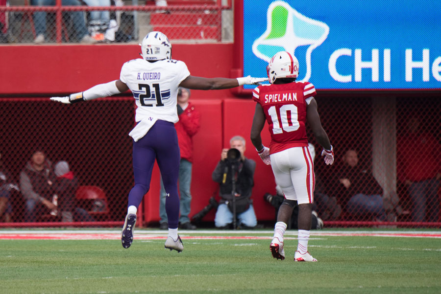 Kyle Queiro celebrates an incompletion. The senior safety intercepted a pair of passes against the Cornhuskers on Saturday.