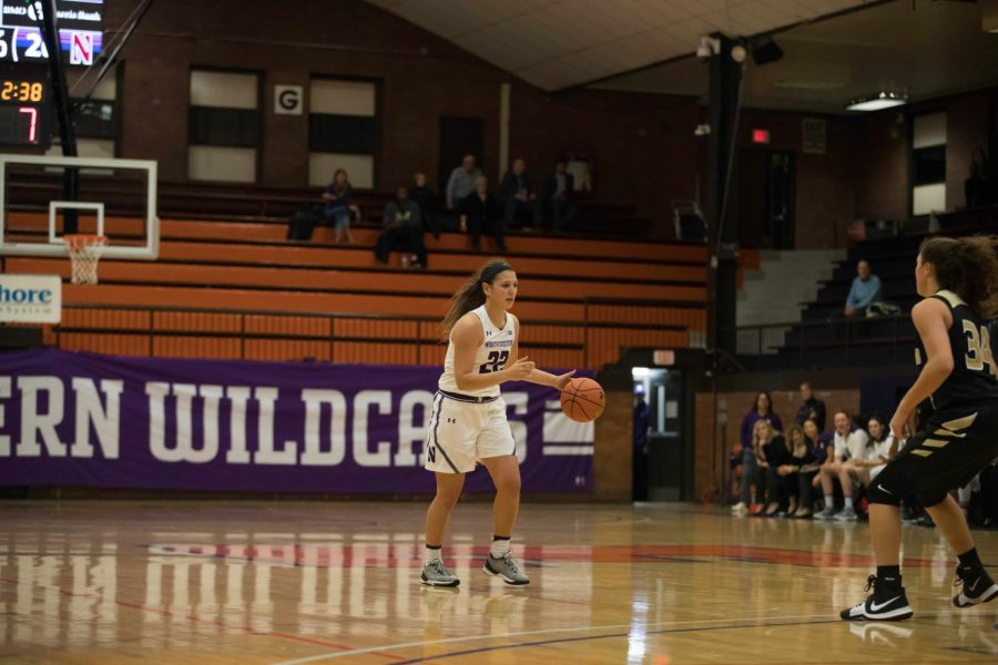 Byrdy Galernik dribbles. The sophomore guard played 10 minutes off the bench against Santa Clara.