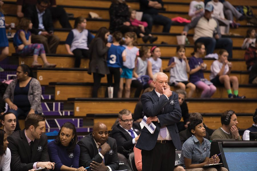Coach Joe McKeown surveys the court. Associate head coach Christie Sides resigned at the beginning of this season, McKeown said.