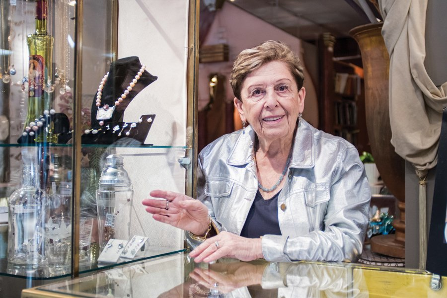 Eve Alfillé, owner of Eve J. Alfillé Gallery & Studio, at her shop at 623 Grove St. The studio gallery, which specializes in handmade jewelry, celebrated 30 years in Evanston last month.