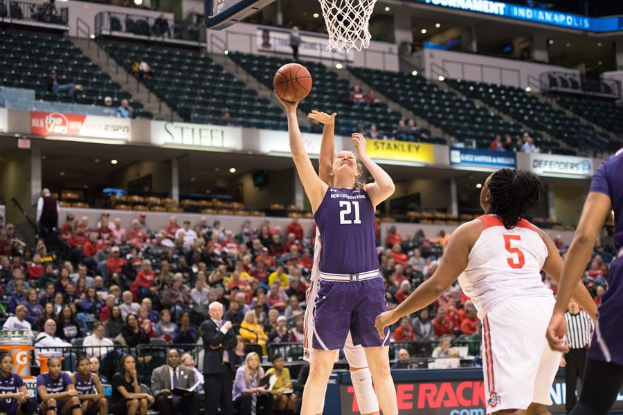Abbie Wolf attempts a layup. The sophomore center and the Wildcats fell in a blowout loss to Minnesota on Thursday.
