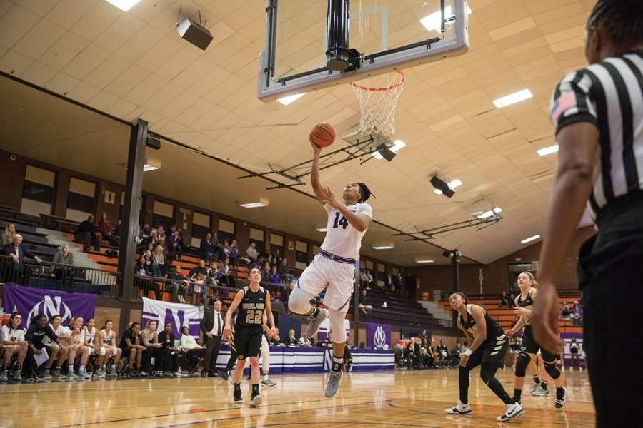 Pallas Kunaiyi-Akpanah goes up for a layup. The junior forward tallied a career-high 27 points and 21 rebounds in Northwestern's 88-70 win over Oakland on Thursday.