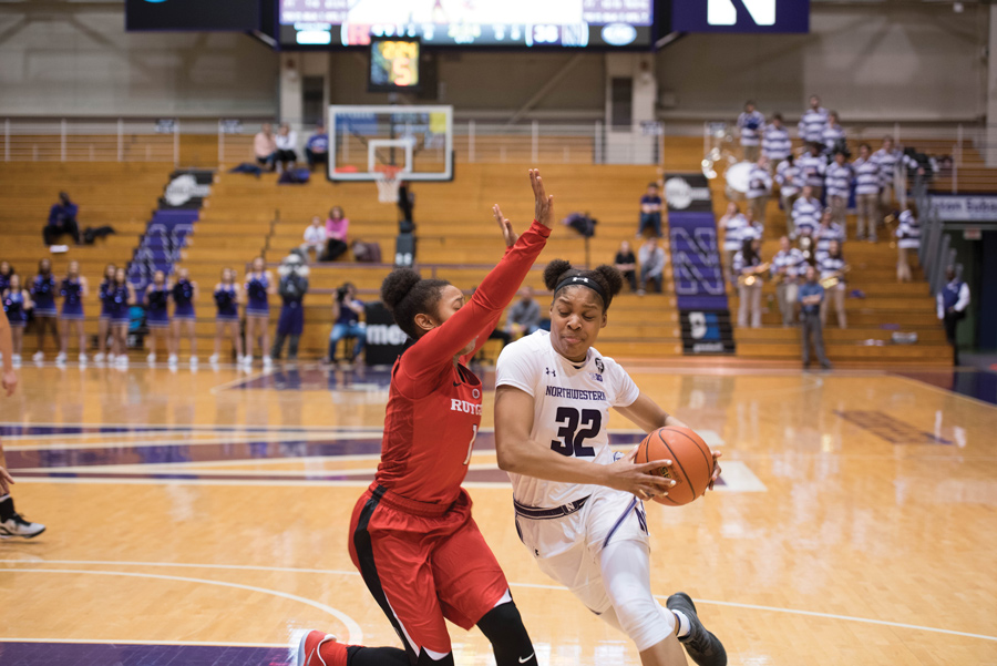 Amber Jamison drives to the hoop. The junior sat out Northwestern's opening-night win over Chicago State, but may return against Oakland.