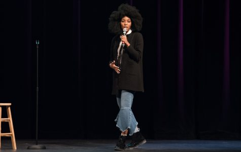 Comedian Jessica Williams speaks at A&O Productions' fall speaker event in Cahn Auditorium. Williams spoke about the importance of incorporating her identity into her comedy.