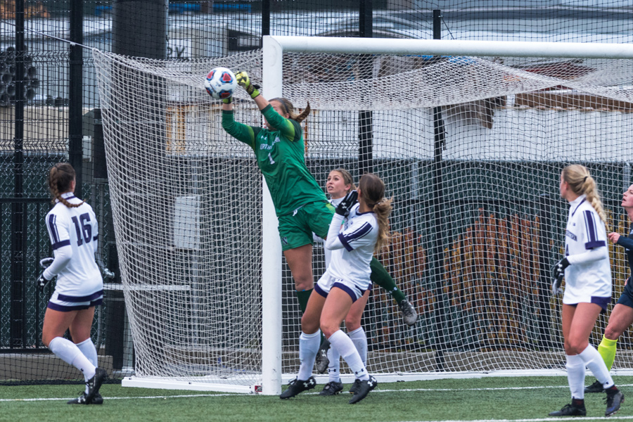 Lauren Clem leaps to make a save. The senior goalkeeper saw her illustrious Northwestern career come to an end with a 1-0 loss at UCLA in the second round of the NCAA Tournament.
