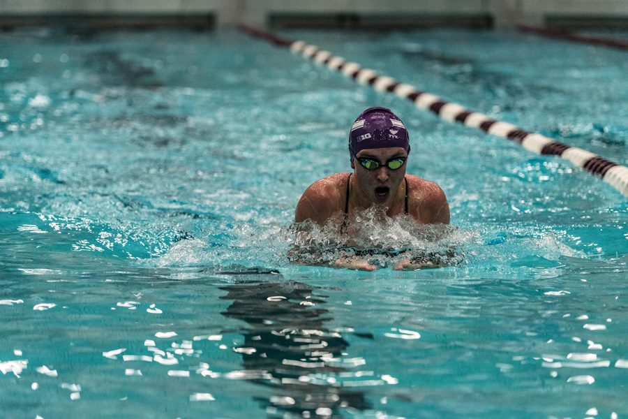 A Northwestern swimmer takes a breath. The Wildcats have a chance to extend their winning streak to five against Wisconsin on Saturday.