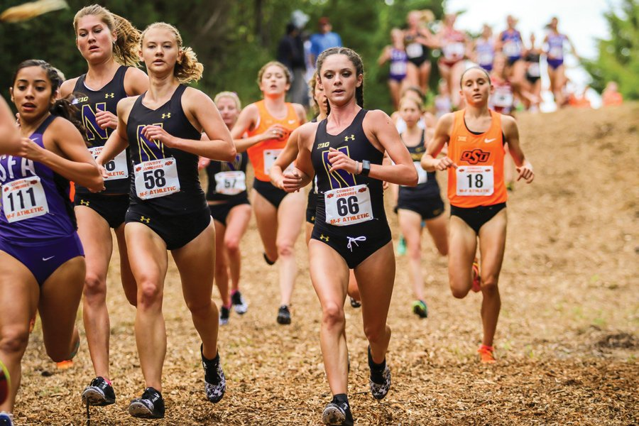 Hannah Tobin leads a pack of runners. The freshman finished seventh among Wildcats at NCAA Regionals.