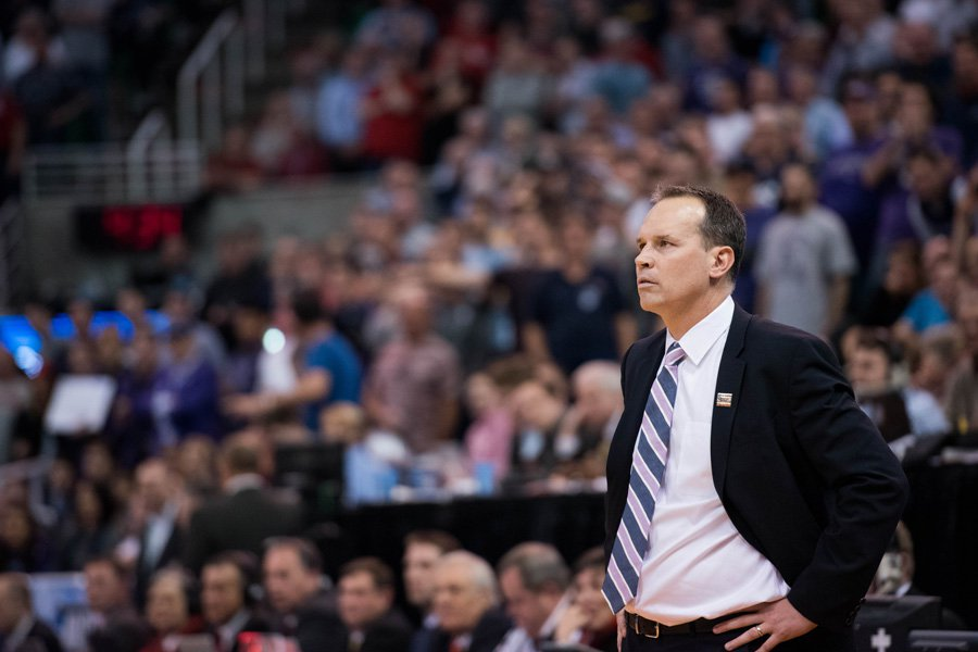 Chris Collins looks on in frustration. The coach had a lot to be concerned about Friday as his team was routed by Oklahoma.