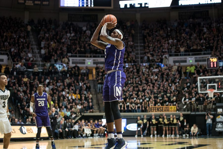 Dererk Pardon rises for a jump shot in Northwestern's loss to Purdue. The junior center surprised the Boilermakers with a flurry of midrange field goals Sunday.