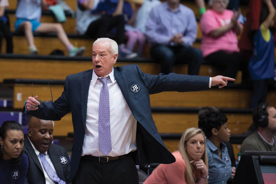 Joe McKeown gestures toward the court. McKeown remained optimistic following the Cats' collapse Wednesday.