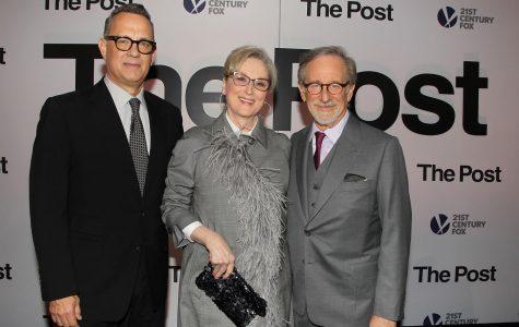 Tom Hanks (left), Meryl Streep and Steven Spielberg pose while promoting