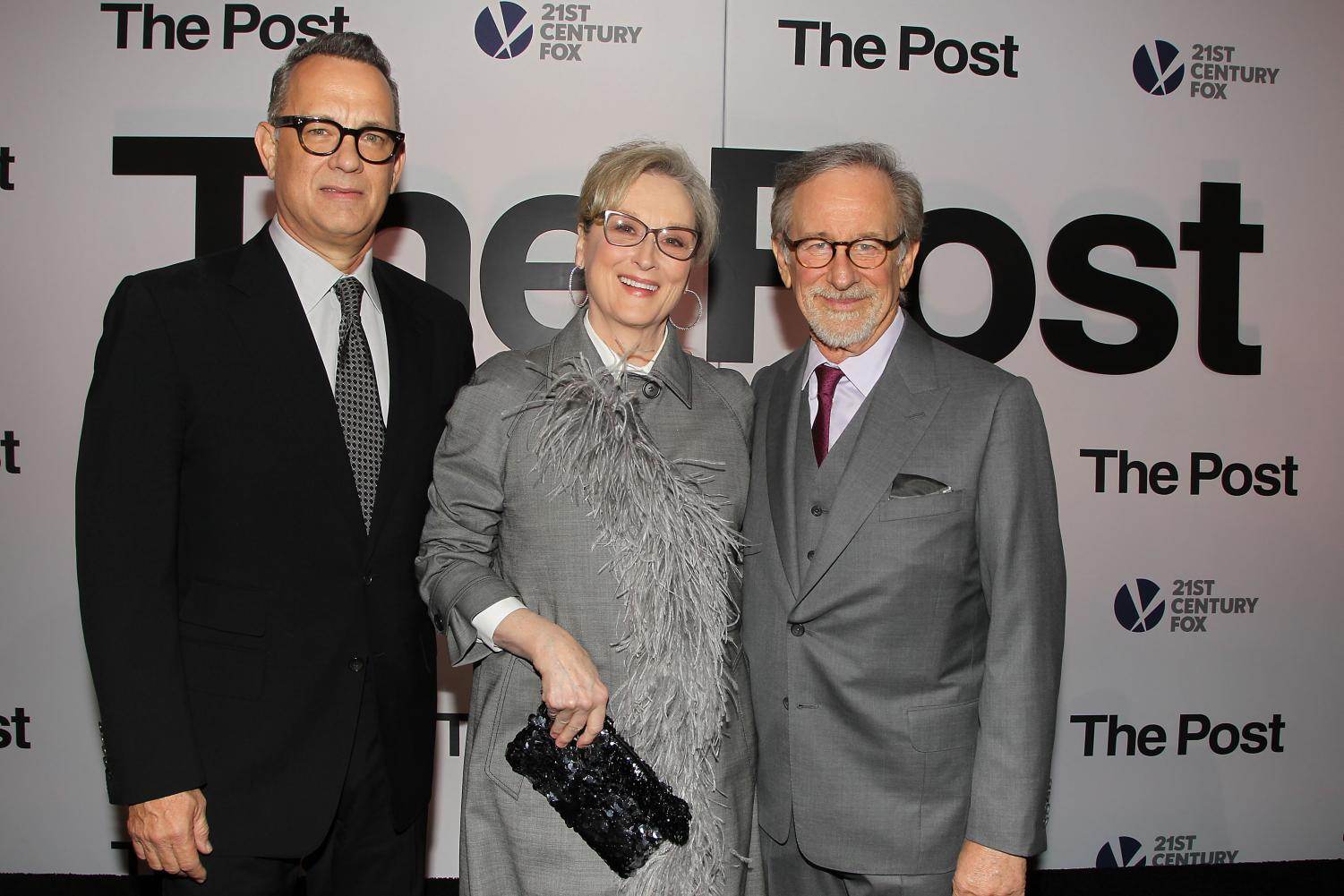 Tom Hanks (left), Meryl Streep and Steven Spielberg pose while promoting