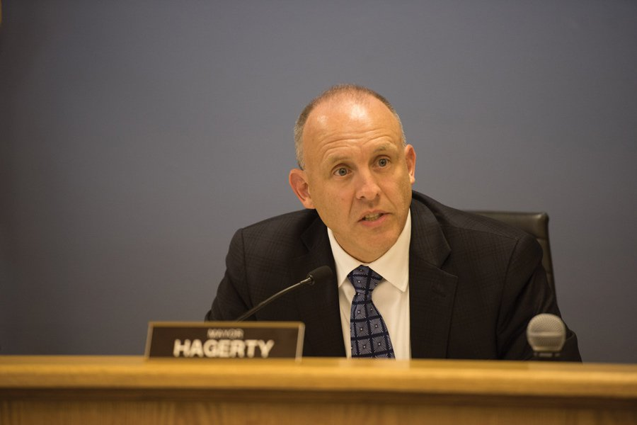 Mayor Steve Hagerty speaks at a meeting. Council members approved Evanston's 2018 operating budget at a Monday City Council meeting.