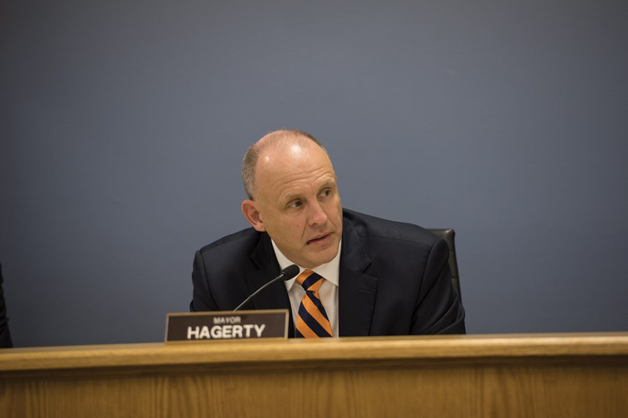 Mayor Steve Hagerty talks about affordable housing at a special City Council meeting on Monday. Aldermen at the meeting discussed the impact of rent regulations on affordable housing opportunities for students and residents.