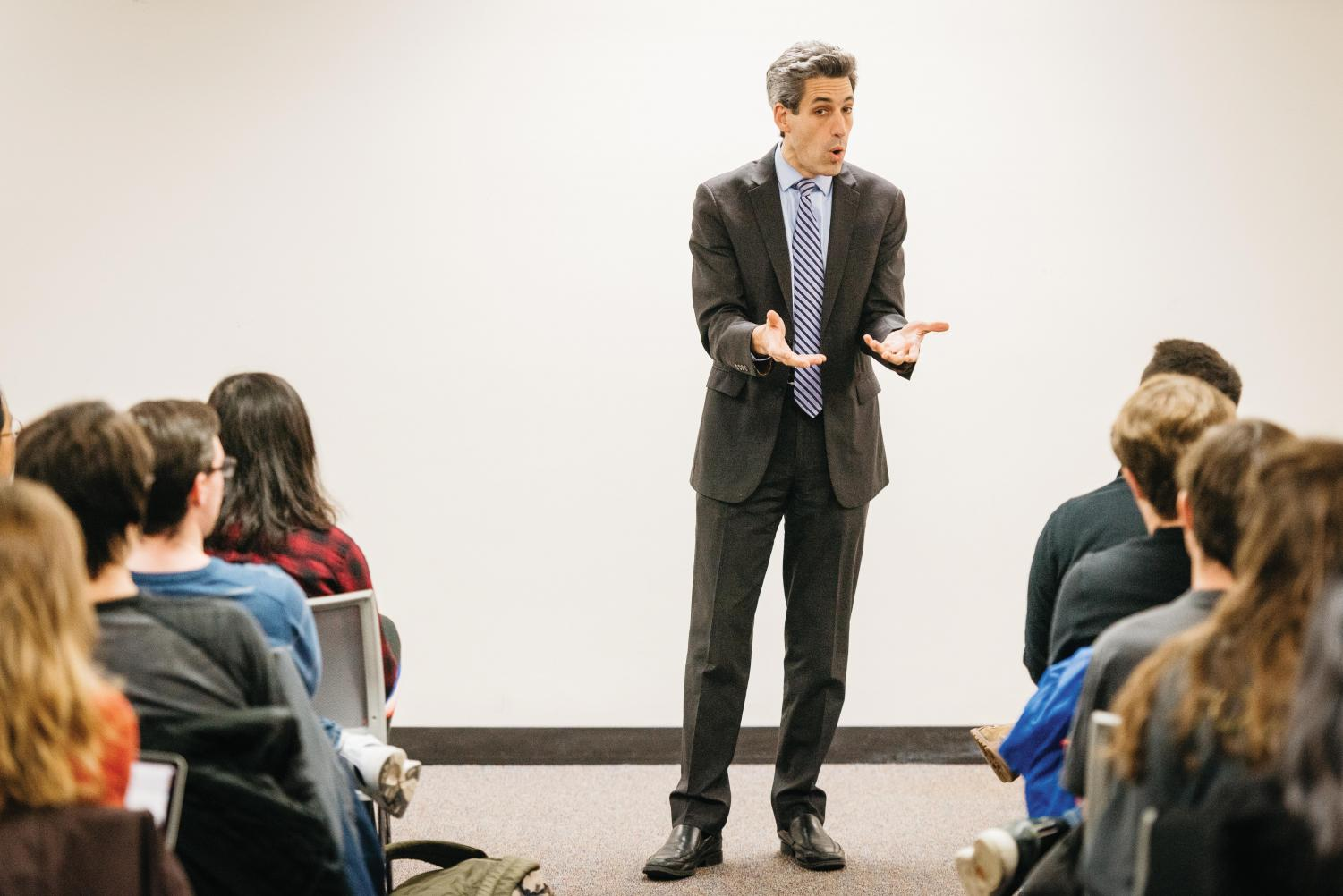 State Sen. Daniel Biss (D-Evanston) gestures at an event. The progressive organization Our Revolution Illinois endorsed Biss for governor.