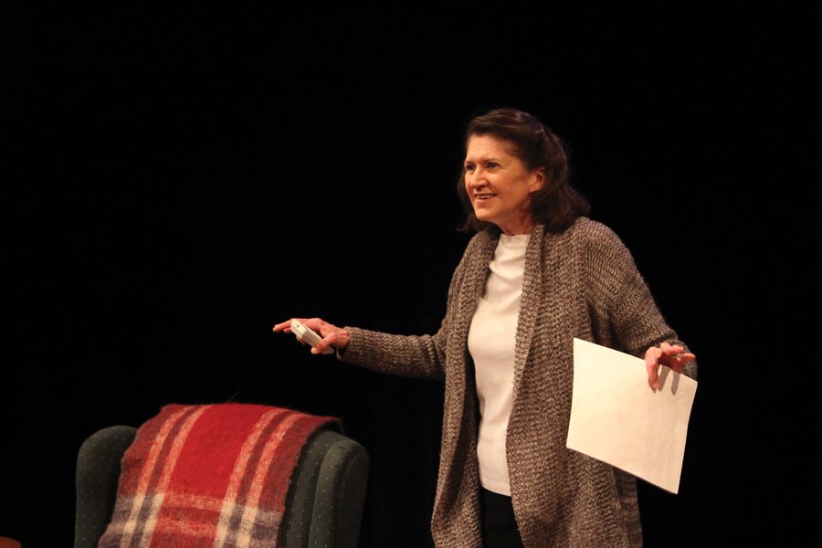"""Molly Regan performs in """"The Accidental Curator."""" The one-woman show is based off of essays Regan wrote about her family's stories."""