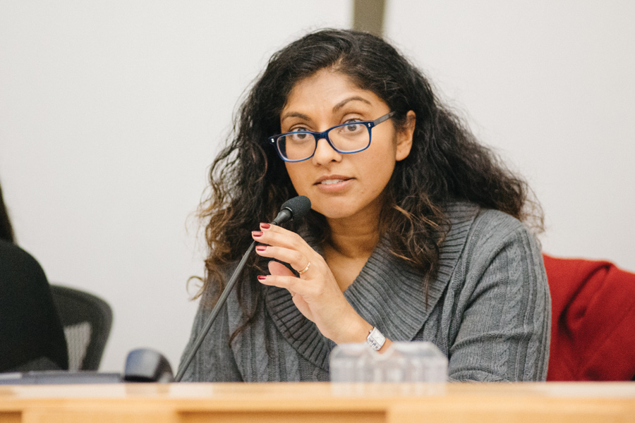Evanston/Skokie District 65 School Board member Suni Kartha at Tuesday's meeting. Kartha said it is important for schools to set tangible goals to overcome the downward trends.