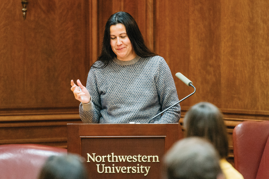 Mojave Native American poet Natalie Diaz speaks at Harris Hall about native culture in literature. The talk was co-sponsored by the Center for Native American and Indigenous Research and Weinberg College of Arts and Sciences.
