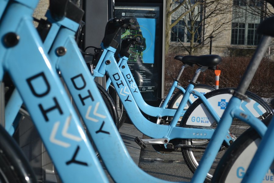 A Divvy bike station campus. Aldermen approved a 12-month contract with Divvy at Monday's City Council meeting.