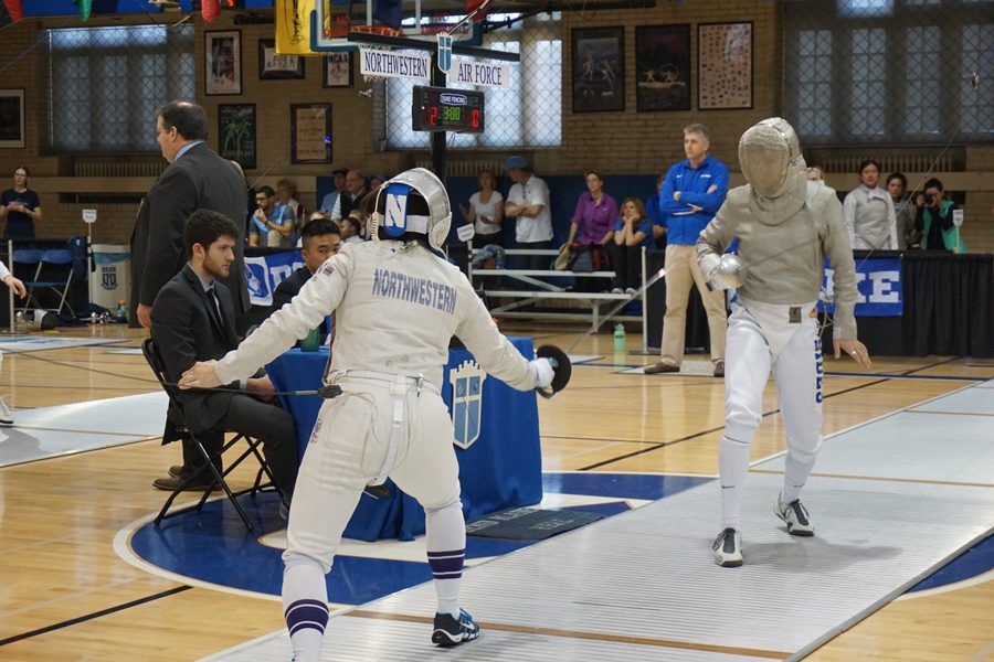 A+Northwestern+fencer+prepares+to+attack.+The+Wildcats+will+travel+to+Notre+Dame+to+compete+at+the+DeCicco+Duals+on+Saturday+and+Sunday.