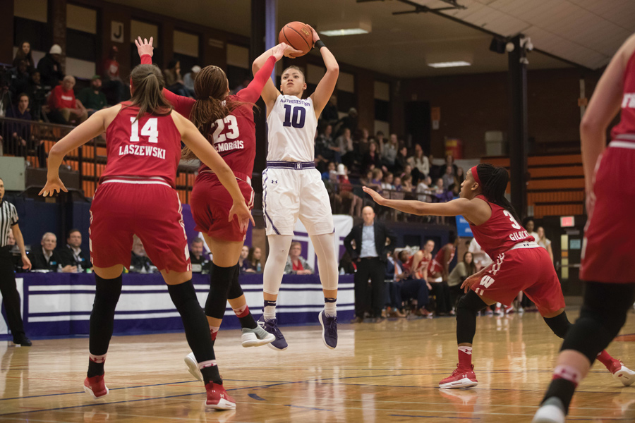Lindsey Pulliam takes a mid-range jumper. The freshman guard was a key contributor in the second half in the Wildcats' win over Wisconsin.