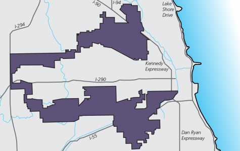 A map of Illinois' Fourth Congressional District. Members of a Sunday panel discussed the issue of gerrymandering and how it affects elections in Chicago and across the country.