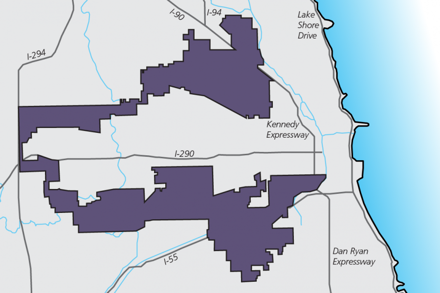 A+map+of+Illinois%E2%80%99+Fourth+Congressional+District.+Members+of+a+Sunday+panel+discussed+the+issue+of+gerrymandering+and+how+it+affects+elections+in+Chicago+and+across+the+country.+