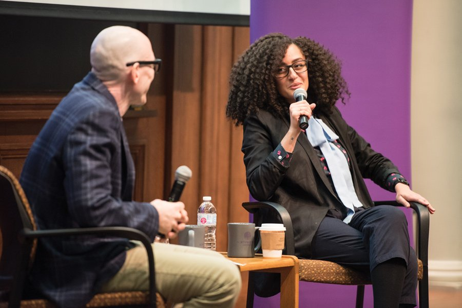 United States Artists president and CEO Deana Haggag answers a question from moderator Radio, Television and Film department chair David Tolchinsky. Haggag spoke about her background and the importance of supporting artists.