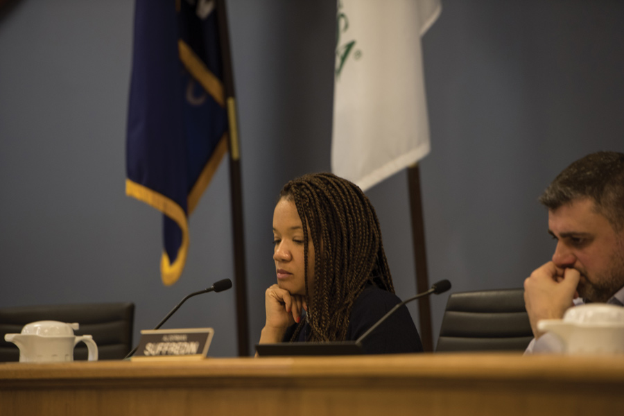 Ald. Robin Rue Simmons (5th) thinks at a City Council meeting. Aldermen adopted a new sexual harassment policy to comply with a new state law at the meeting Monday.