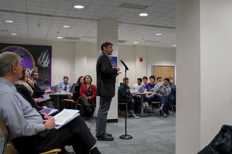 Brad Zakarin speaks to students, faculty and staff at a forum on the recently released Undergraduate Residential Experience Committee report. Many students raised concerns about the elimination of residential colleges and permanently themed houses in the proposed framework.