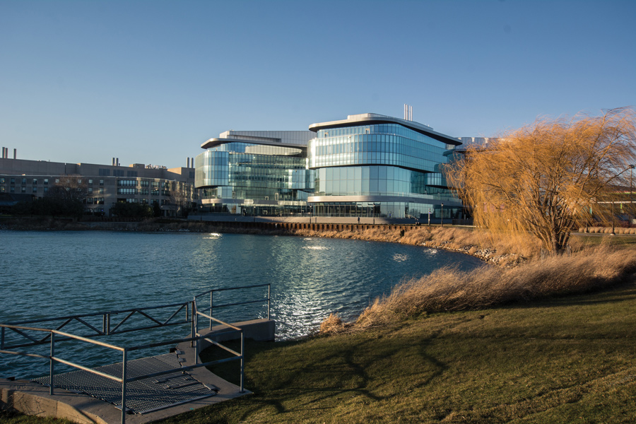 Kellogg School of Management's Global Hub, 2211 Campus Drive. The Global Hub was the second Northwestern building to receive a LEED Platinum certification.