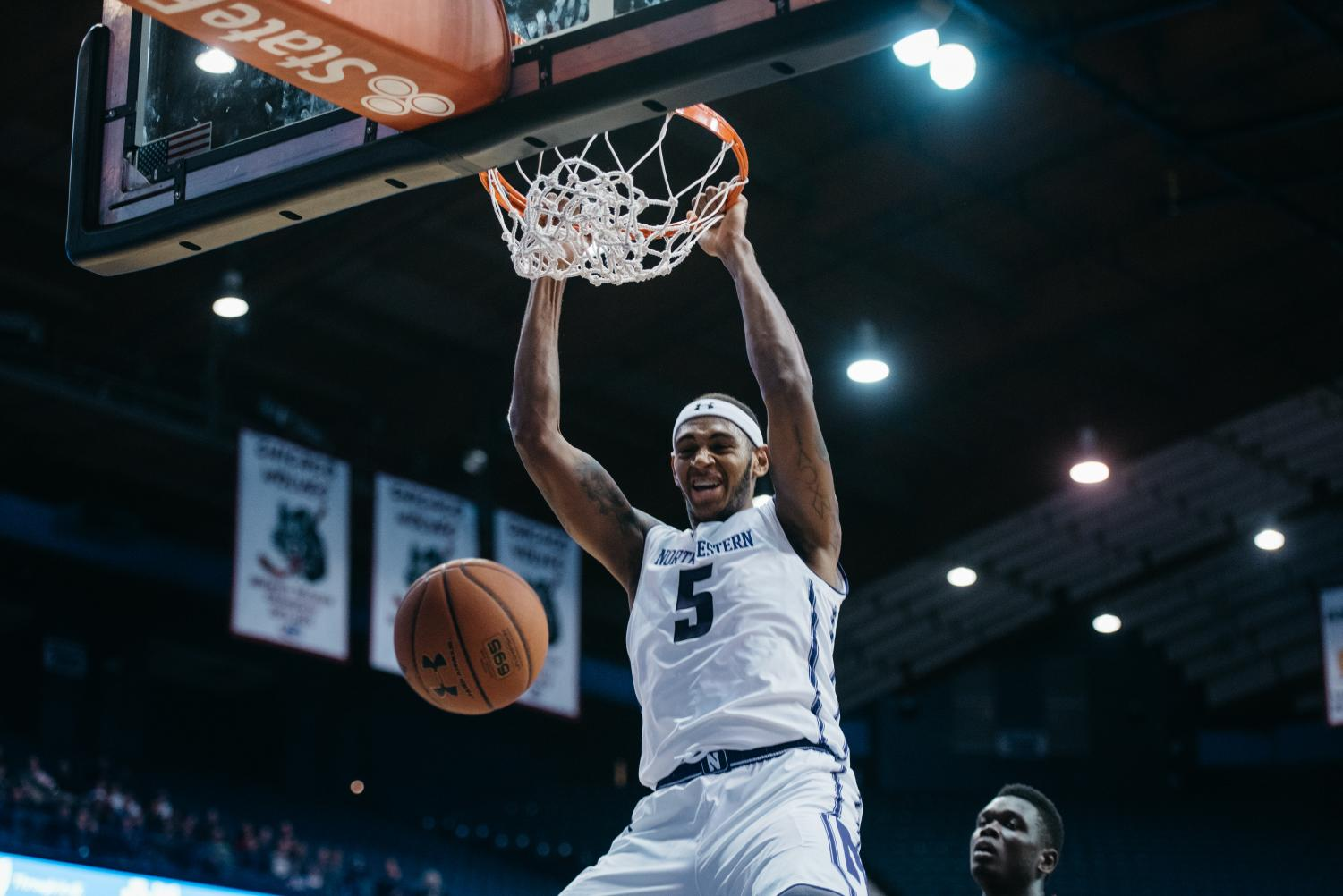 Dererk Pardon throws down a dunk. The junior center and the Wildcats dominated Minnesota on Wednesday.
