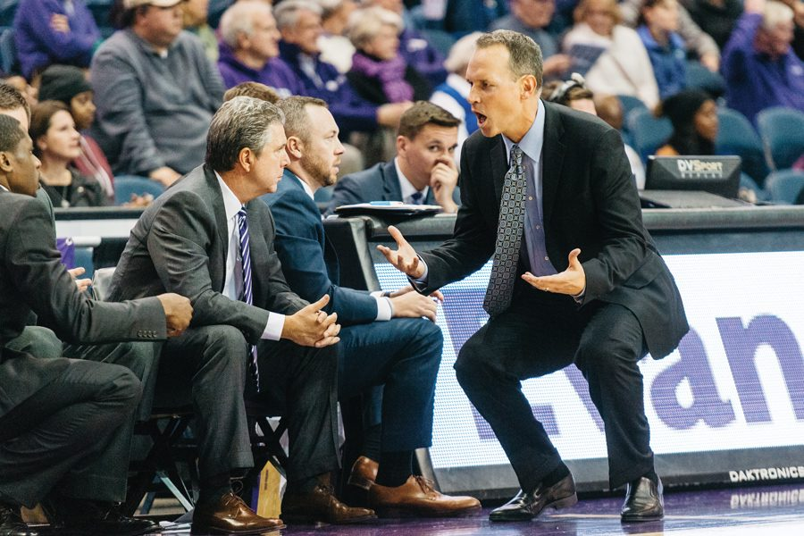 Chris Collins turns to scream at the bench. Collins and the team look to pick up another crucial conference victory at Indiana on Sunday.