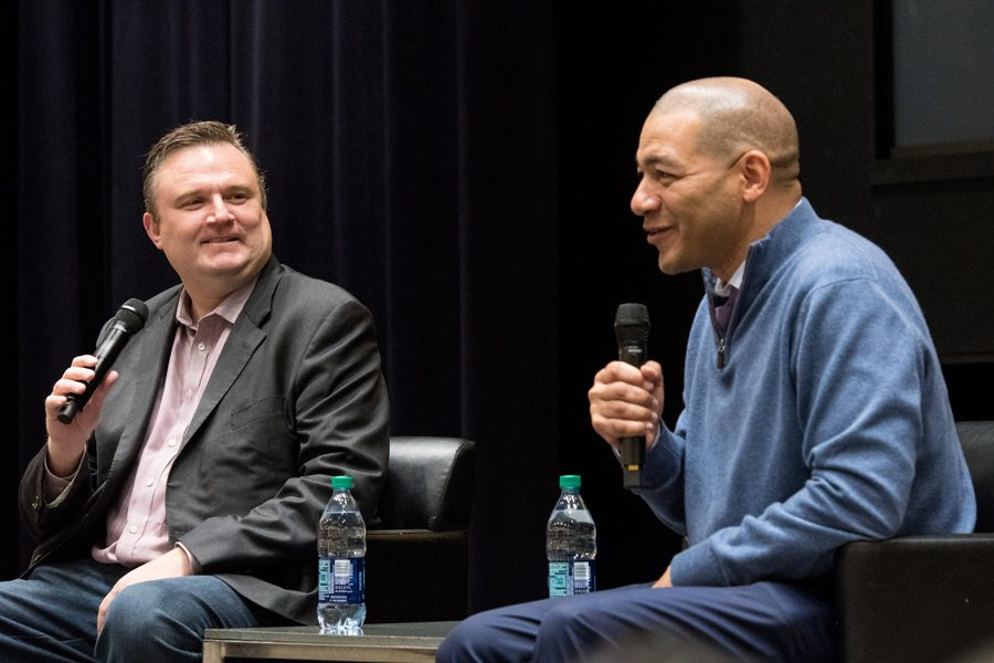 Medill+Prof.+J.A.+Adande+%28Medill+%E2%80%9992%29+speaks+with+Houston+Rockets+general+manager+Daryl+Morey.+Morey%2C+a+Northwestern+alumnus%2C+spoke+about+the+intersection+of+data+analytics+and+basketball.