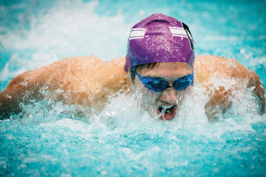 A Northwestern swimmer takes a breath. The Wildcats took two hard defeats against Minnesota and Purdue last weekend.
