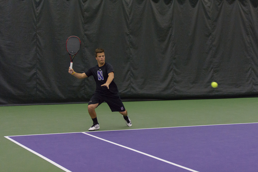 Dominik Stary lines up a groundstroke. The sophomore will hope to lead Northwestern in some tough matchups this weekend at the ITA Regional.
