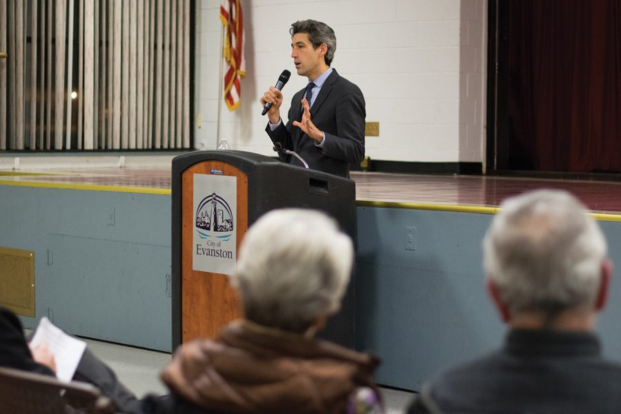 State Sen. Daniel Biss (D-Evanston) speaks at a town hall. The New Trier Democrats endorsed Biss for governor on Sunday.