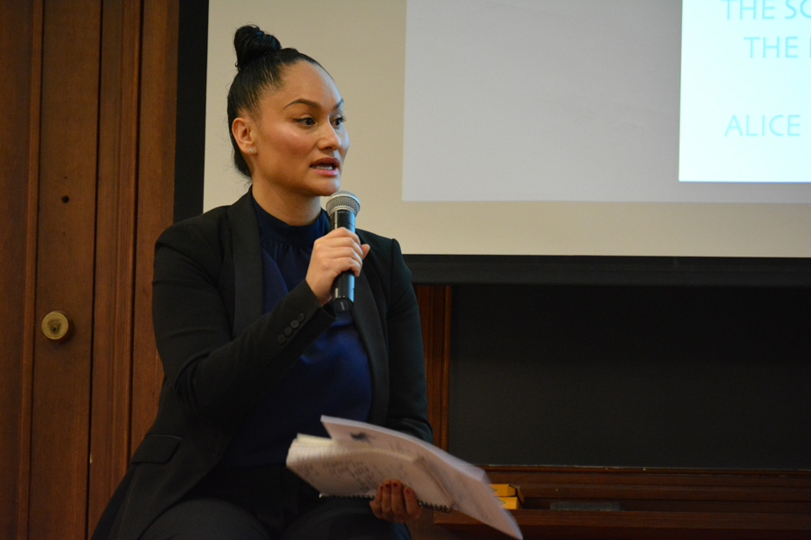 Activist Carmen Perez talks at the Northwestern University Community for Human Rights 2018 conference. Perez, a co-chair of the 2017 Women's March on Washington, was the closing keynote speaker at this annual event.