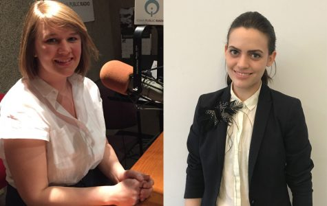 """Clare Roth (left) and Anne Jaconette. The two alumni created the podcast  """"For a Bad Time Call..."""" to allow women to express their anger."""