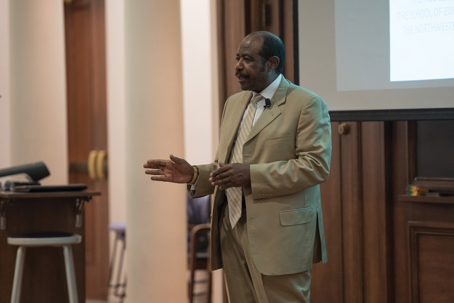 Paul Rusesabagina speaks at the Northwestern University Community for Human Rights keynote. Rusesabagina is a Rwandan humanitarian and survivor of the Rwandan Genocide.