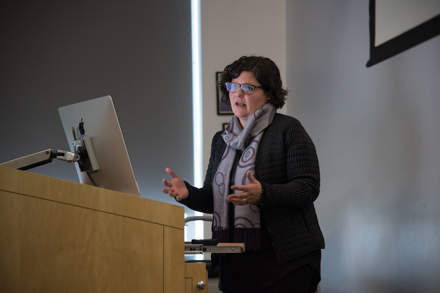 Jen Christensen speaks during a lecture sponsored by the Daniel H. Renberg endowment. Renberg's donation will also endow a position within Medill for a faculty member who specializes in the coverage of sexual and gender minorities.