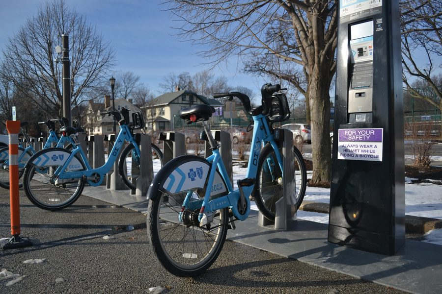 A Divvy bike station on campus. NU student memberships with Divvy increased to 667 by the end of the 2016-2017 school year, according to a sustainability report released last week.