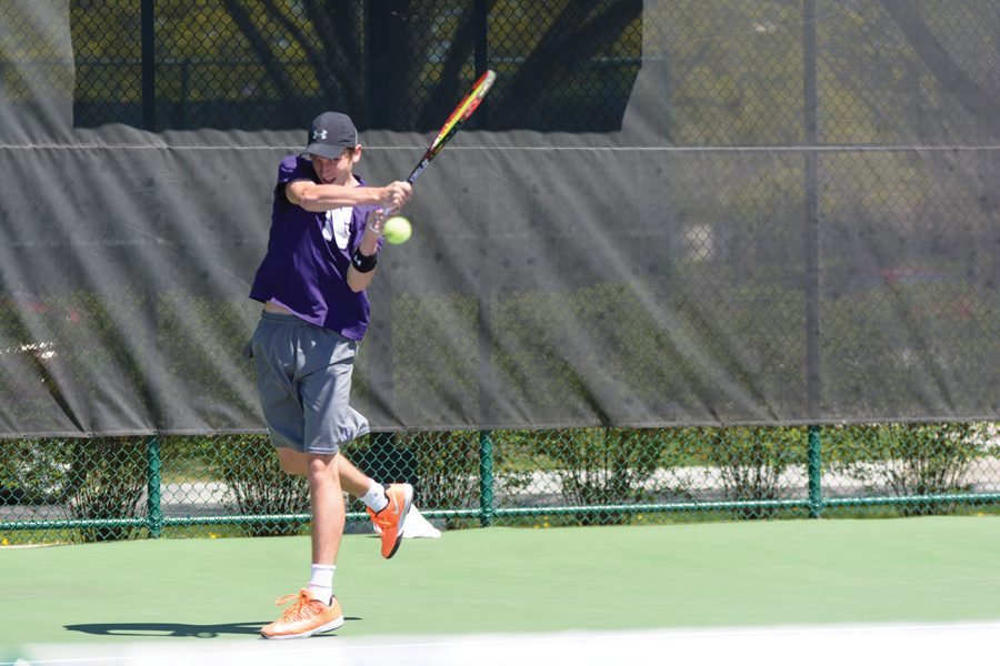 Ben+Vandixhorn+hits+a+backhand.+Coach+Arvid+Swan+said+the+junior+has+stepped+up+to+lead+the+young+team+as+the+Wildcats+head+into+their+first+match.%0A