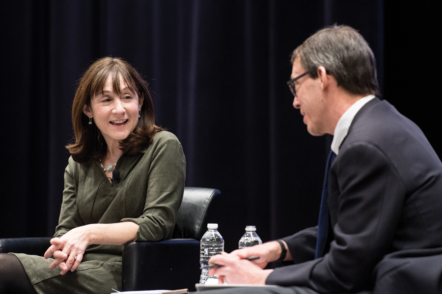 Jane Mayer of The New Yorker talks with Medill Prof. Peter Slevin in a Monday event. Mayer discussed the challenges journalists face in the current political climate.